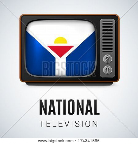 Vintage TV and Flag of Saint Martin as Symbol National Television. Tele Receiver with flag design