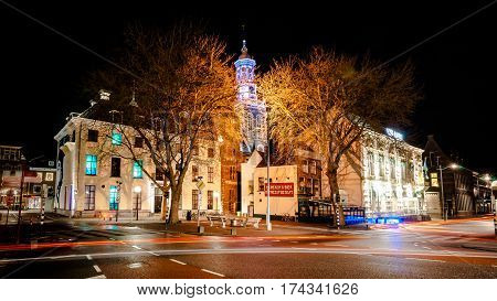 KAMPEN, NETHERLANDS - December 10, 2016: Beautifully featured city with beautiful monuments and towers. Photo taken during night photography with long exposure, Kampen, Overijssel - Netherlands.