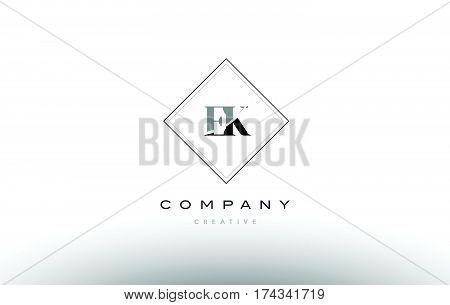 Ek E K  Retro Vintage Black White Alphabet Letter Logo