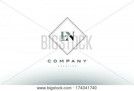 En E N  Retro Vintage Black White Alphabet Letter Logo
