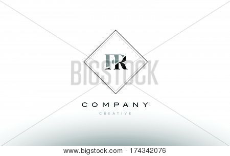 Fr F R  Retro Vintage Black White Alphabet Letter Logo