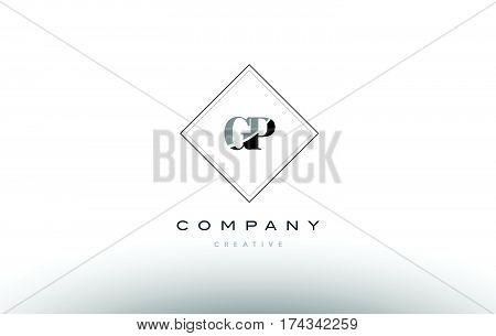 Gp G P  Retro Vintage Black White Alphabet Letter Logo