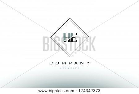 He H E  Retro Vintage Black White Alphabet Letter Logo