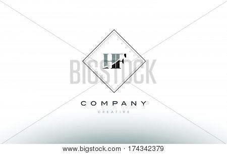 Hf H F  Retro Vintage Black White Alphabet Letter Logo