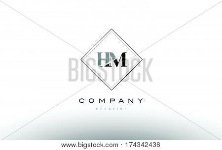 Hm H M  Retro Vintage Black White Alphabet Letter Logo