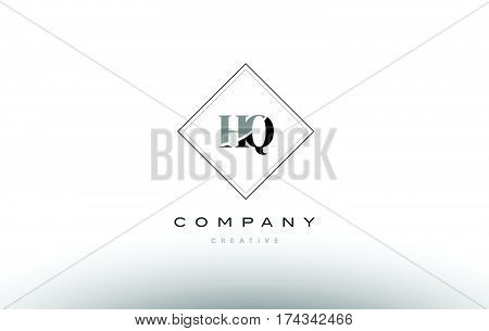 Hq H Q  Retro Vintage Black White Alphabet Letter Logo