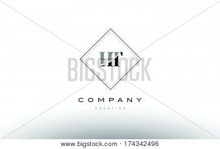 Ht H T  Retro Vintage Black White Alphabet Letter Logo