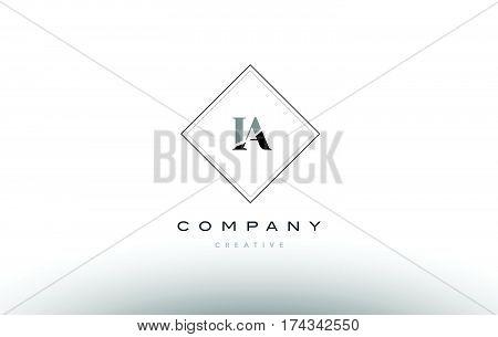 Ia I A  Retro Vintage Black White Alphabet Letter Logo