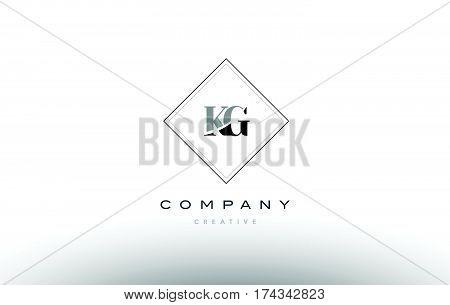 Kg K G  Retro Vintage Black White Alphabet Letter Logo