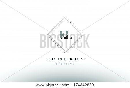Kl K L  Retro Vintage Black White Alphabet Letter Logo