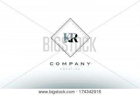 Kr K R  Retro Vintage Black White Alphabet Letter Logo