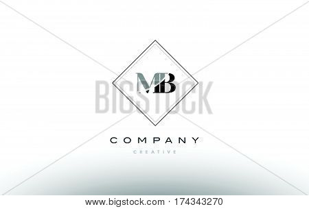 Mb M B  Retro Vintage Black White Alphabet Letter Logo