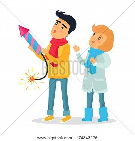Cartoon boy and girl set off blazing striped firework rocket. Improper behaviour by children with pyrotechnics. Flat vector illustration of frightened little people playing with dangerous equipment