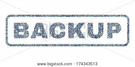 Backup text textile seal stamp watermark. Blue jeans fabric vectorized texture. Vector tag inside rounded rectangular shape. Rubber emblem with fiber textile structure.