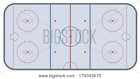 Ice hockey rink with markings . Top view