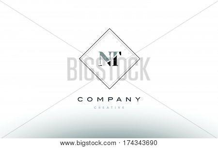 Nt N T  Retro Vintage Black White Alphabet Letter Logo