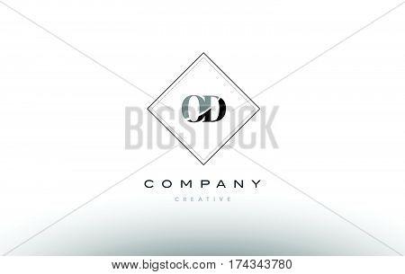 Od O D  Retro Vintage Black White Alphabet Letter Logo