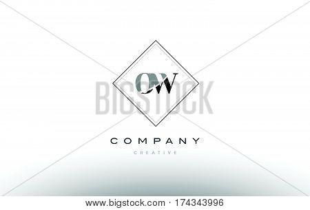 Ow O W  Retro Vintage Black White Alphabet Letter Logo