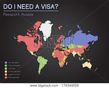Visas Information For Russian Federation Passport Holders. Year 2017. World Map Infographics Showing