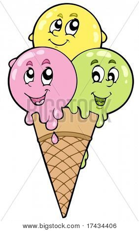 Cute cartoon ice cream - vector illustration.