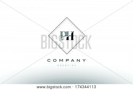 Ph P H  Retro Vintage Black White Alphabet Letter Logo