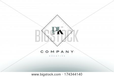 Pk P K  Retro Vintage Black White Alphabet Letter Logo
