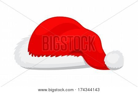 Single Santa Claus red hat realisticvector illustration in flat style. Santa winter fur wool red hat isolated on white background. Christmas decorative headwear. Icon of winter snowboard hat cap.