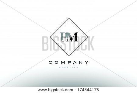 Pm P L  Retro Vintage Black White Alphabet Letter Logo