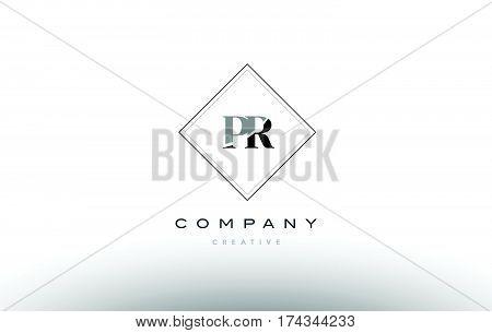 Pr P R  Retro Vintage Black White Alphabet Letter Logo