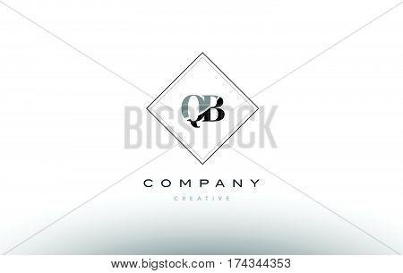 Qb Q B  Retro Vintage Black White Alphabet Letter Logo