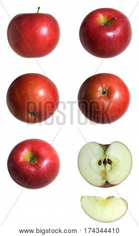 Series of an apple in different position; plus section shot