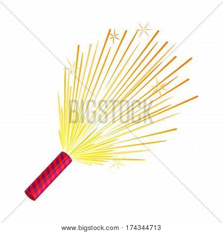 Sparkler isolated pyrotechnic devices for festivals. Salute elements for celebration of different holidays and parties, amazing firework. Bright sparks used for aesthetic and entertainment purposes.