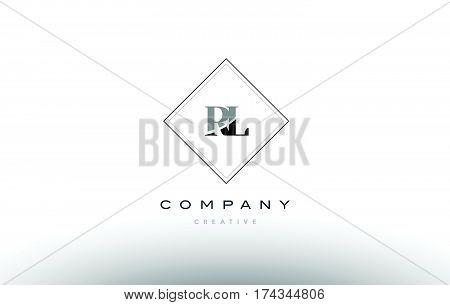 Rl R L  Retro Vintage Black White Alphabet Letter Logo