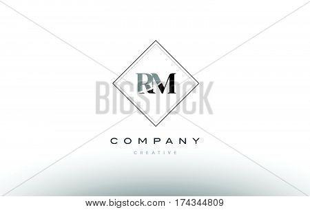 Rm R M  Retro Vintage Black White Alphabet Letter Logo