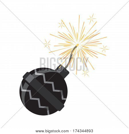 Fireworks icon isolated on white vector illustration. Low explosive pyrotechnic device used for entertainment purposes. Casing filled with pyrotechnic stars. Salute element for celebrations.