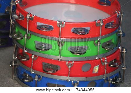 group of colorful  Tambourine  arranged in order