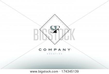 Sf S F  Retro Vintage Black White Alphabet Letter Logo