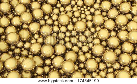 3D illustration of a background of golden spheres