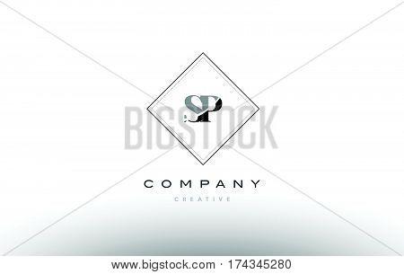 Sp S P  Retro Vintage Black White Alphabet Letter Logo