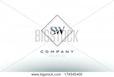 Sw S W  Retro Vintage Black White Alphabet Letter Logo