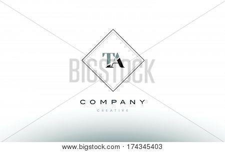 Ta T A  Retro Vintage Black White Alphabet Letter Logo