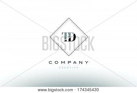 Td T D  Retro Vintage Black White Alphabet Letter Logo