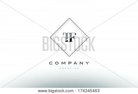 Tf T F  Retro Vintage Black White Alphabet Letter Logo