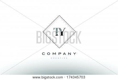 Ty T Y  Retro Vintage Black White Alphabet Letter Logo