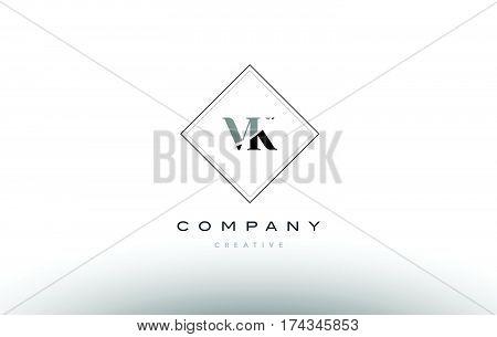 Vk V K  Retro Vintage Black White Alphabet Letter Logo