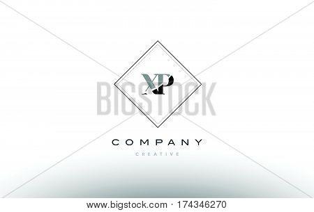 Xp X P  Retro Vintage Black White Alphabet Letter Logo