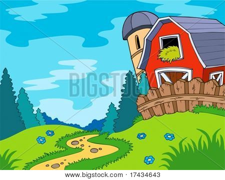 Country landscape with barn - vector illustration.