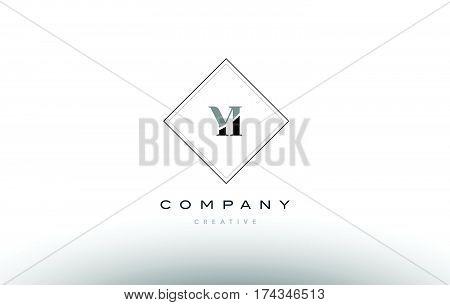 Yi Y I  Retro Vintage Black White Alphabet Letter Logo