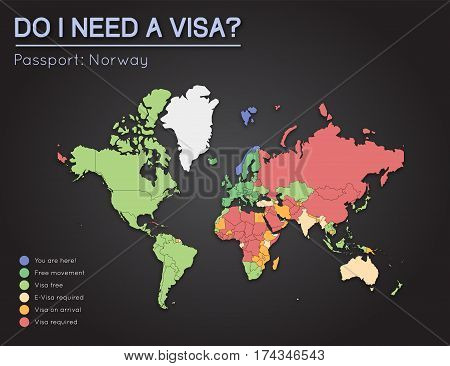 Visas Information For Kingdom Of Norway Passport Holders. Year 2017. World Map Infographics Showing