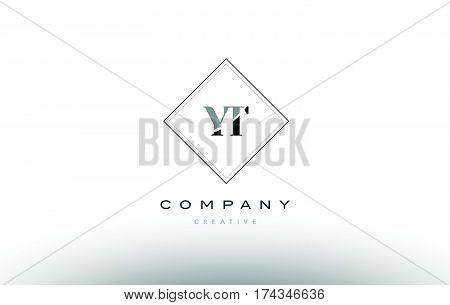 Yt Y T  Retro Vintage Black White Alphabet Letter Logo